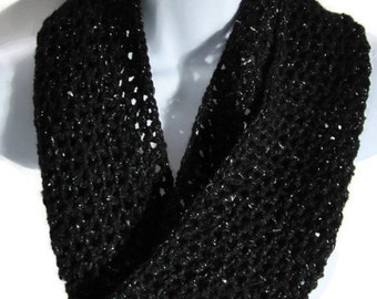 Crocheted Cowl, Black Metallic, Sparkle, Infinity Scarf, Women's Accessories, Circular Scarf