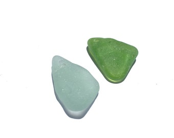 2 Small Sea Glass Pendants  Lime SeaFoam Drilled For Jewelry  English Sea Glass  (204)
