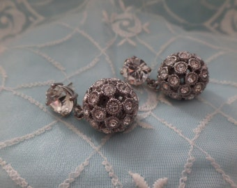 Vintage Rhinestone Disco Ball Post Earrings! Nice Dangle Drop Earrnings