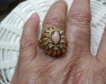 Vintage HEAVY Gold Plated ESPO Pink Quartz & Rhinestone Cluster 4.4g Ring 7 FREE Shipping