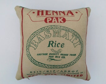 Cushion Pillow made from a rustic Indian jute burlap rice sack