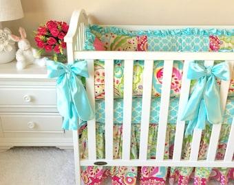 Baby Bedding Sets for Girls, Mint Baby Bedding, Custom Baby Bedding Sets, Luxury Baby Bedding, Boutique Crib Bedding, Pink Crib Bedding