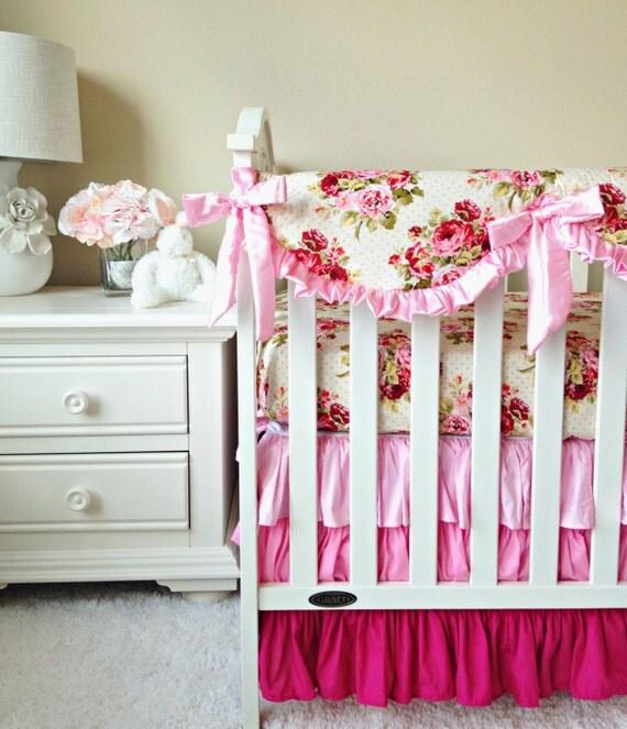 Rambling Roses Bumperless 3pc Crib Bedding Shabby Roses Baby