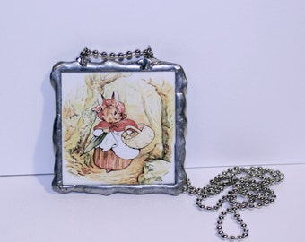 Double Sided Beatrix Potter Necklace, Peter Rabbit Jewelry, Soldered Animal Pendant