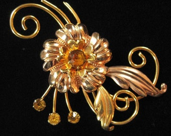 Gold Filled Retro Brooch, 1960's, Rose and Yellow Gold