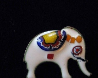 Elephant Pin, Tiny Enamel on Copper Figural Brooch