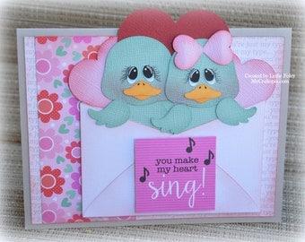 Valentine's Love friends Handmade Paper Piecing 3D Greeting Card