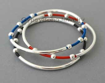 1 LEATHER Tube Bangle Double Silver Tubes - Genuine Natural Leather Cord Beaded Bracelet Custom  Pick COLOR- Gift  - Under 20 -Usa 001