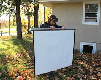 Vintage Movie Projector Screen Da-Lite Brown Metal Home Decor Recreational Industrial