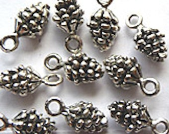Silver Pinecone Charm - Alex & Ani Inspired bracelets- jewelry making - findings - charms