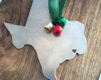Texas Ornament Personalized Christmas Ornament TX Gift Ornament Gift I Heart Texas Christmas Ornament State Ornament Home is Texas