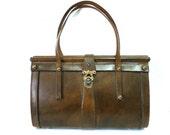 1940s handbag leather by Coronado Handcrafted Saddlebag Horse and Eagle bass hardware purse