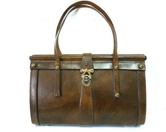 1940s leather bag Coronado Rivets Handcrafted Handbag Horse and Eagle brass hardware bag