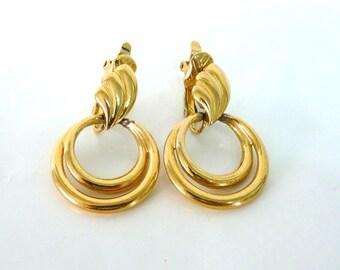 Trifari Gold Hoop Earrings Vintage Clip-On drop Marilyn Monroe earrings