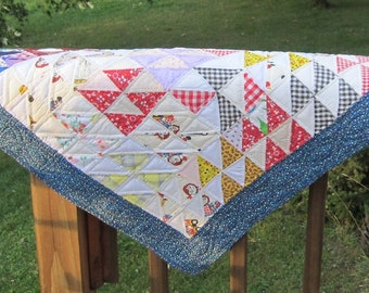 Vintage Scrappy Hand Quilted Baby Quilt Doll Quilt Table Topper
