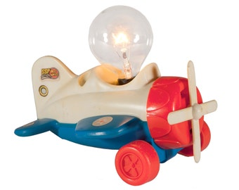 FREE SHIPPING: Unique Vintage Mini Airplane Lamp - Red Blue Little Airplane Upcycled Small Light - Children's Night Light
