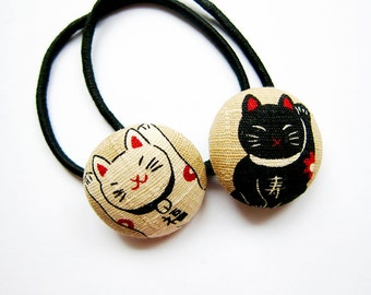 Button Ponytail Holders - Maneki Neko