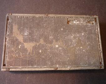 Printers Block - Stock Chart 1917  Metal Letter Press - Scrapbooking - Printing Block 1920s