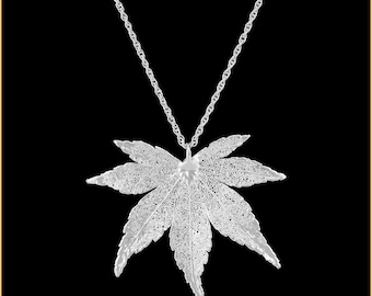 Real Japanese Maple Leaf Dipped In Silver Pendant - Real Dipped Leaf - In Gift Box