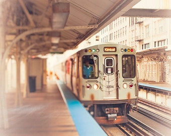 Chicago Photography, Kimball brown line train art, wall art print Loop train, art for walls, teal blue, brown, orange, urban home wall decor