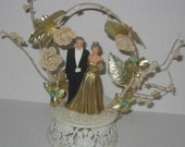 Vintage Golden Anniversary Cake Topper - Bride and Groom Cake Topper - 50th Anniversary