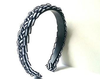 White & Black Braided Ribbon Headband 3/4 Inch