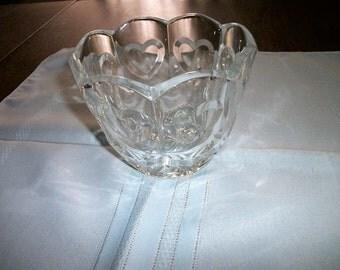 Antique Lead Glass  Bowl w hearts