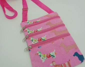 Wiener Dog Dachshund Multi Pouch Messanger Bag with Zippers Pink