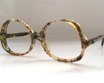 30% OFF SALE - 80s Vintage Small Marbled Round Frame Eyeglasses