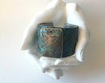 "leather cuff bracelet  - turquoise embossed leather with gilded jasper - 1.5"" wide"