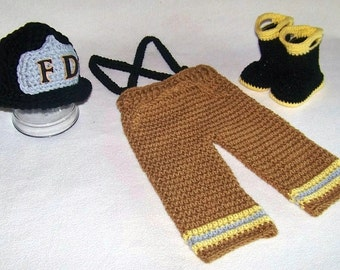 Firefighter Outfit - Fireman Baby Hat - Fireman Baby Shower - Baby Fire Boots - Firefighter Costume - Baby Bunker Gear - Fireman Outfit