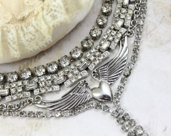 Vintage Assemblage Stacked Rhinestone Necklace, MultiStrand Winged Heart and Rhinestone Assemblage Necklace, Vintage Bib Rocker Necklace