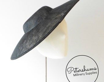 Extra Large Pointed Tip Sinamay Fascinator Hat Base for Millinery - Black