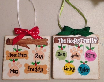 2-5 names Hand painted personalized ornament on wood.