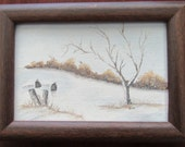 Cute Vintage 1970s Painting of a Winter Scene-Signed Vicki Duncan