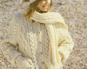 Aran cardigan, mitts, scarf and hat knitting pattern. Instant PDF download!