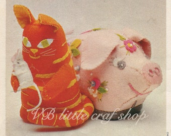 Cat, mouse and piglet sewing pattern. Instant PDF download!