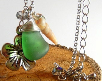 FOR HIM or HER - Pendant with genuine beach glass from Amalfi Coast and shell on metal silver color chain