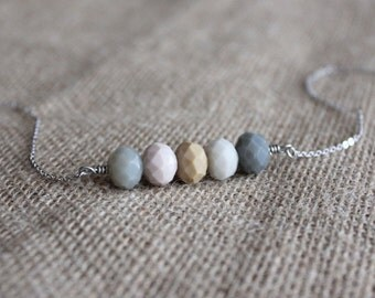 Simple Beaded Necklace | Neutral Bead Bar Necklace | Cool Glass Bead Necklace | Simple Jewelry