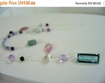 10% sale, Long necklace lariat, quality gems, sterling silver, fine jewelry, handmade quality, unique design