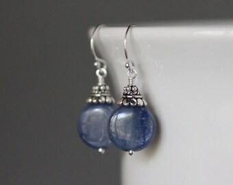 Kyanite Earrings - Blue Kyanite - Blue Gemstone Earrings - Bali Silver Earrings - Kyanite Jewelry - Silver Wire Wrapped Earrings - Gift