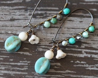 Rustic Long Earrings - Turquoise and Ivory - Beaded Ear Wire Earrings - Boho Earrings - White and Turquoise - Bead Soup Jewelry