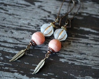 Unlisted - Pink and Ivory Earrings - Rustic Ethnic Earrings - Pink Boho - Feather Earrings - Long Dangles - Bead Soup Jewelry