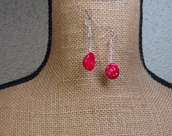 Naturl AAA Grade Red Coral 925 Silver Earrings