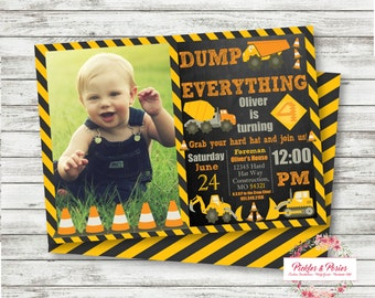 Construction Birthday Invitation - Personalized - Dump Truck Party -  Custom Personalized Birthday Invitation - Printable Download