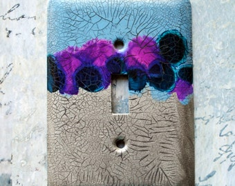 Light Blue and Silver, abstract design on switch plate cover, blue, violet, teal, silver, urban decay,