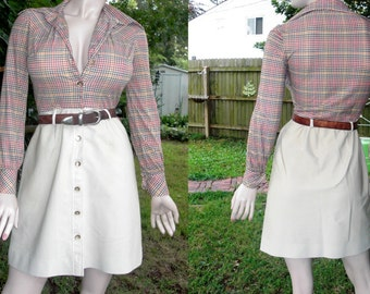 35% OFF 70s Dress in Houndstooth and Corduroy /Vintage Dress/ 70s Costume/ Vintage Shirt Dress by Melissa Lane Size 4