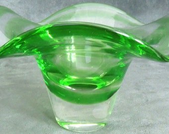 Murano Glass Bowl Sommerso Green
