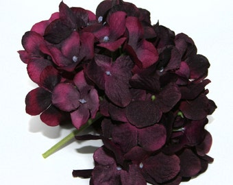 Large Plum Hydrangea Bunch - Full Head - Artificial Flowers, Blossoms, Silk Flowers - PRE-ORDER