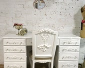 Painted Cottage Chic Shabby White Romantic French Desk DK280